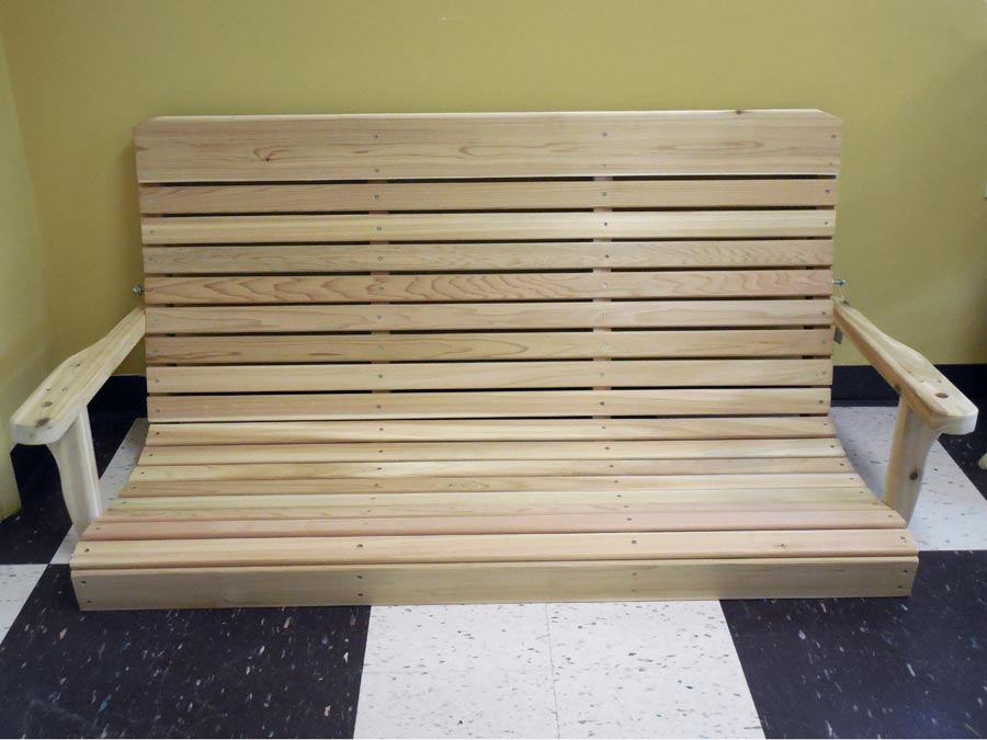 Low Back Cedar Swing made from Aromatic - Handcrafted Wooden Outdoor Furniture - Zimmermans Country Furniture